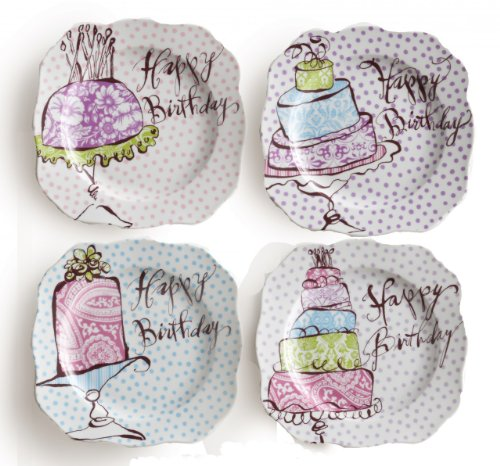 Rosanna Happy Birthday Dessert Plates, Set of 4