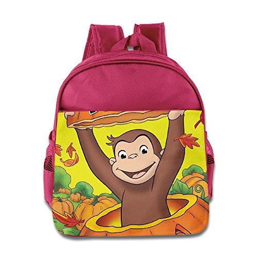 Kids Curious George School Backpack Cool Children School Bag Pink