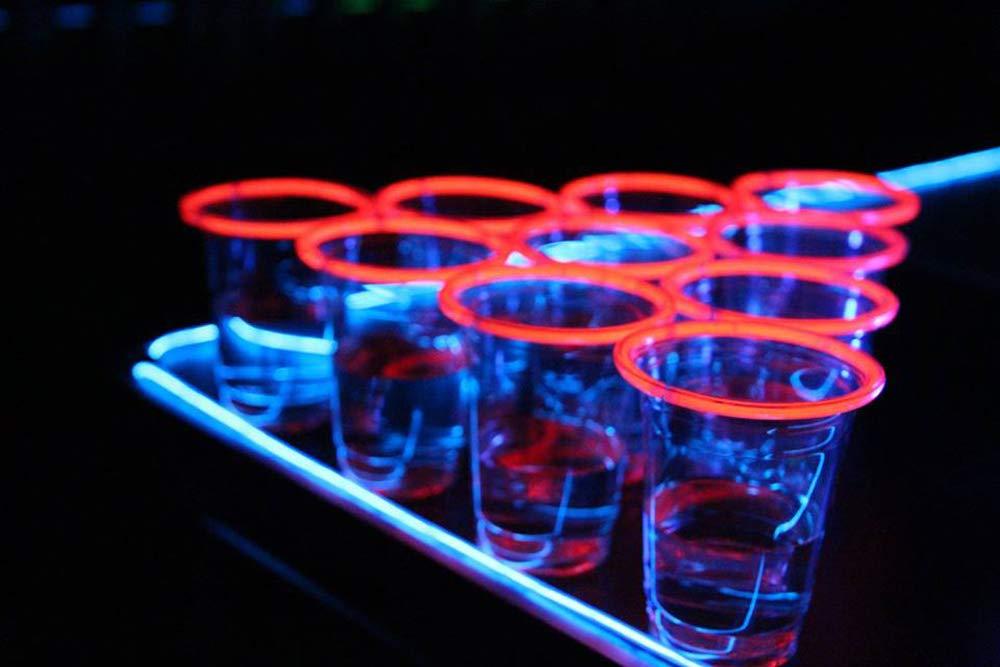 Jeu /à Boire Light Beer Pong Kit Qualit/é Premium 24 B/âtons Lumineux- 2 Balles de Beer Pong Original Cup 22 Grands Gobelets Am/éricains Jeu de Soir/ée