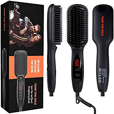 354718518ae9 TAME'S BEARD STRAIGHTENER FOR MEN - Anti-Scald Beard Straightening Brush -  Ceramic Beard Heat Comb - Built-in Ionic Generator - LED Display with 12 ...