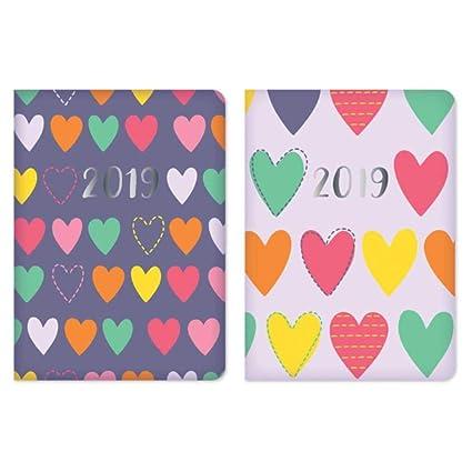 2019 - Agenda de vista semanal con tapa dura acolchada, diseño de corazones, color lila