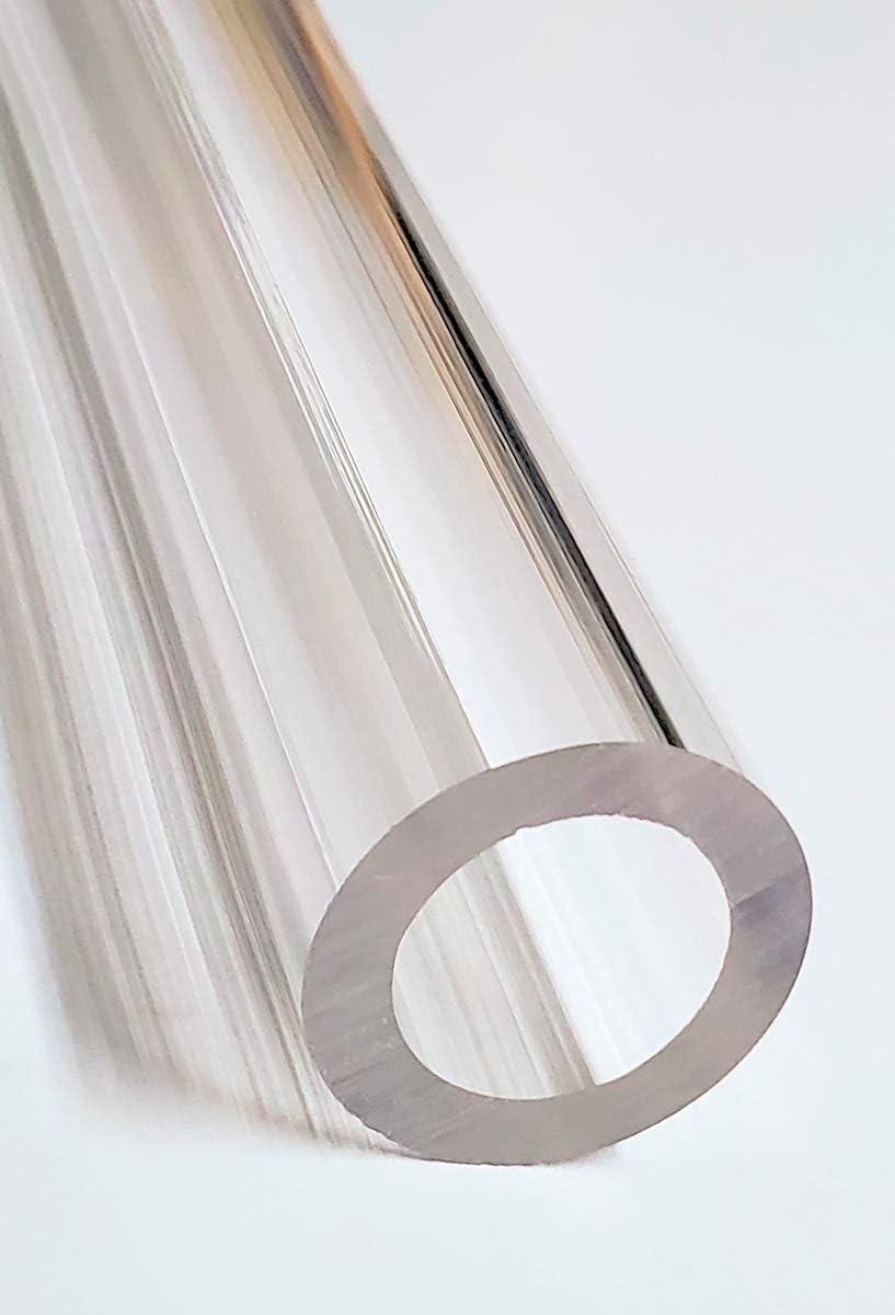 1//8 Wall 2.25 Diameter 1 Length 2 1//4 OD x 2 ID x 12 INCH Long Clear Extruded Acrylic PLEXIGLASS Round Tube
