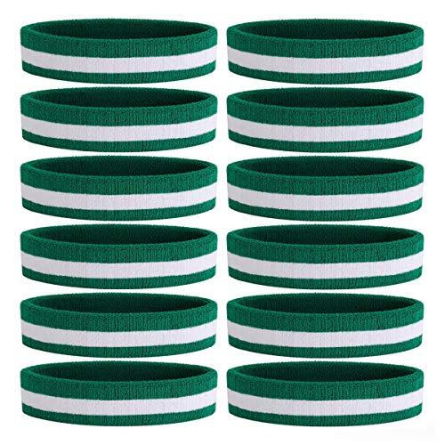 OnUpgo 12PCS Headbands Sweat Band for Men & Women - Sports Headband Moisture Wicking Athletic Cotton Terry Cloth Sweatband Sweat Absorbing Head Band (Green/White/Green)