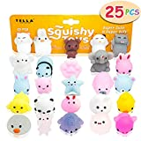 TELLA Premium Mochi Squishy Toys - Cute Mini Squishies Squeeze Toys, Fun Kawaii Squishies Birthday Party Favors for Kids, School Prizes Rewards for Girls & Boys, Perfect 25Pcs Pinata Filler Gift