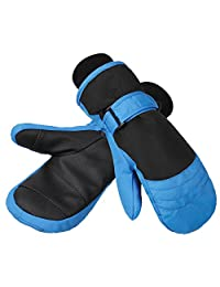 Terra Hiker Children's Ski Mittens, Waterproof & Windproof, Breathable Ripstop Fabric (Blue for 5-9 years old)