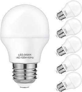 A15 LED Bulb 4W Refrigerator Light Bulbs, 40 Watt Equivalent, E26 Medium Base Soft White 3000K Appliance Globe Shape Lightbulbs, Pack of 6