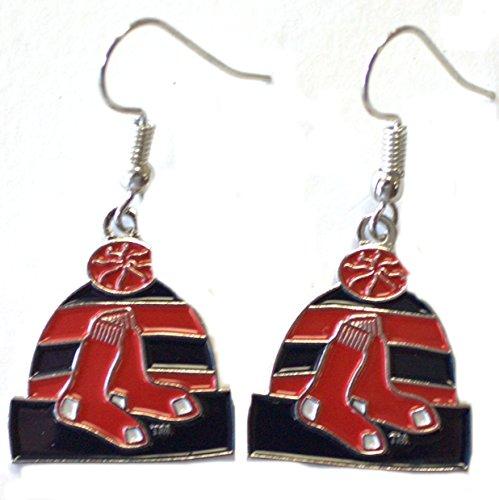 Sox Beanie Red (MLB Boston Red Sox Knit Hat Dangler Earrings)