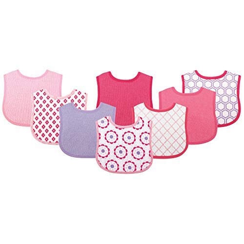 (Luvable Friends 8 Piece Drooler Baby Bibs, Pink and Purple)