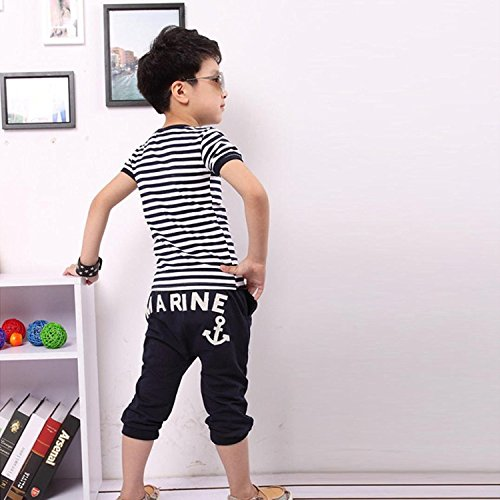 Envio gratis Ropa de Niño Verano 2018 Moda Conjuntos Niño Ropa Bebe Niño  Primavera Rayas Camiseta 3555bd5b466