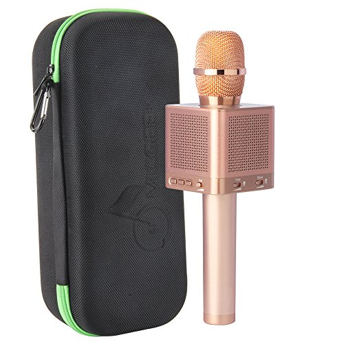 MICGEEK Q10S丨Wireless Bluetooth Karaoke Microphone,4-in-1 Speakers,Super Li-ion Battery,Play/Sing/Record Modes,Best Mini Portable Home Music Machine for Iphone/Ipad/Android/Tablet/Car(Rose Gold) ()