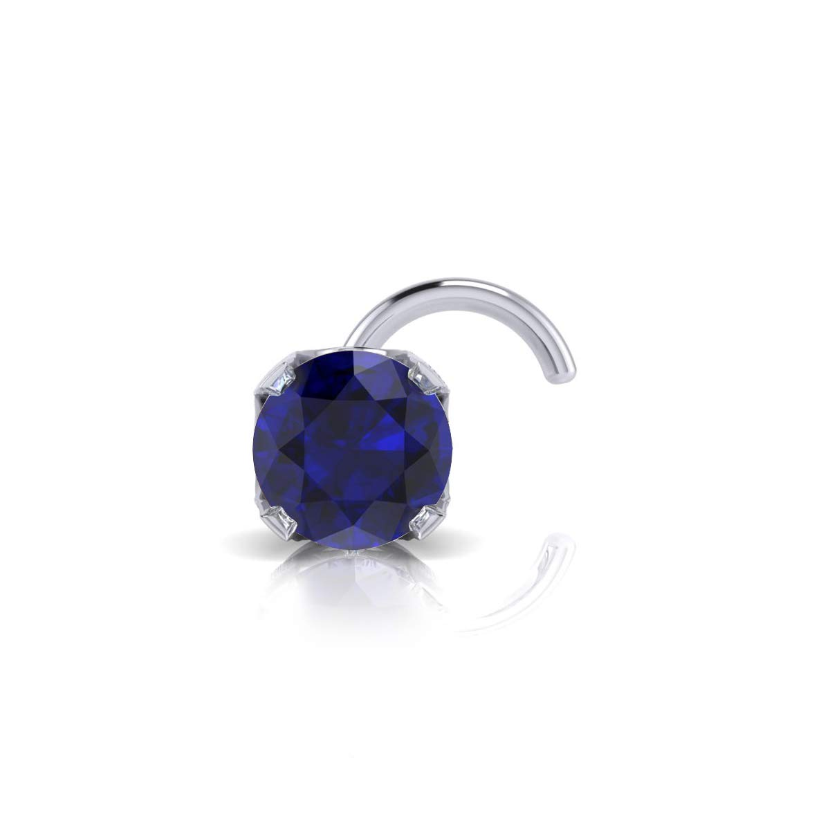 2mm 0.03 Carat Sapphire Stud Nose Ring In 14K White Gold