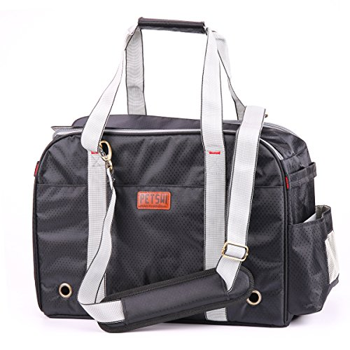 Premium Pet Carrier, Airline Approved, Soft-Sided, Travel Tote Bag, Perfect for Small Dogs and Cats (Black)