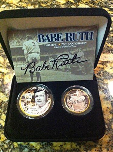 - BABE RUTH 75TH ANNIVERSARY HALL OF FAME 24KT GOLD JFK HALF DOLLAR & NEW YORK STATE QUARTER SET! W/H COA & DISPLAY CASE!