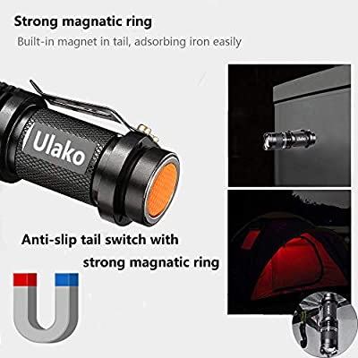 Ulako Red Light Single 1 Mode 150 Yards Tactical Adjustable Focus Zoom LED Magnetic Flashlight Torch for Coyote Hog Pig Varmint Predator Hunting Astronomy
