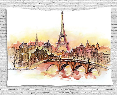 Eiffel Tower Tapestry by Ambesonne, France Theme Design Urban Decor Sunset in Paris Illustration Print, Wall Hanging for Bedroom Living Room Dorm, 60WX40L Inches, Yellow and Dark - In Time Sunset France Paris