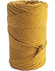 MB Cordas Mustard Macrame Cord 3mm Cotton Cord 140m Macrame Rope 140m Cotton Rope for Macrame Projects DIY - Handmade Decorations Wall Hangings Plant Hanger Crocheting Bohemia Dream Catcher DIY