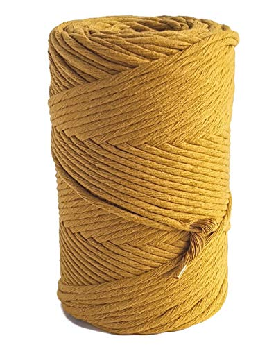 Mustard Macrame Cord 3mm Cotton Rope 459 feet Yellow Single Strand Twisted String Cotton Yarn Colorful Craft Cord for Crafts and DIY MB CORDAS (Mustard Soft Yarn)