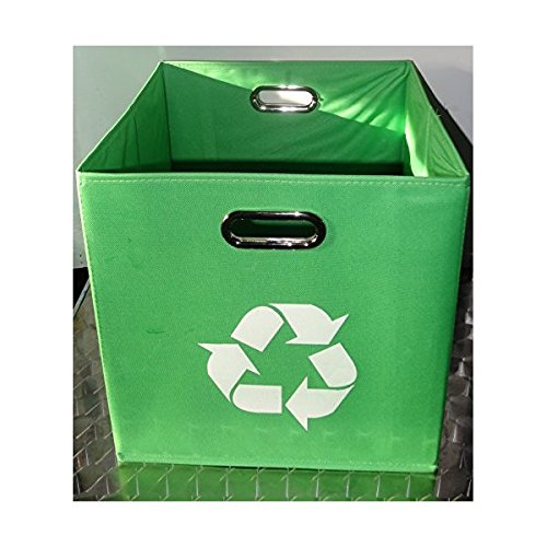 Alexi Ricci Green Folding Designer Recycle Bin 13x13 x 13 inch by ideal for recycling of Newspapers - Magazines office papers Great for Office- Under Kitchen Sink - Dorm Room - Under Desk- Alexi Ricci Design GR13AR