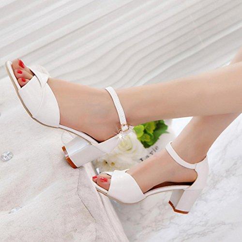 Zapatos Tacón Fiesta Zapatos de Boda Clásicos de Ancho Altas Tacón de Verano 2018 de de Boca PAOLIAN Pescado Tobillo Blanco para Moda Zapatos Mediano Mujer Tira Vestir Sandalias de con rnvrB6q