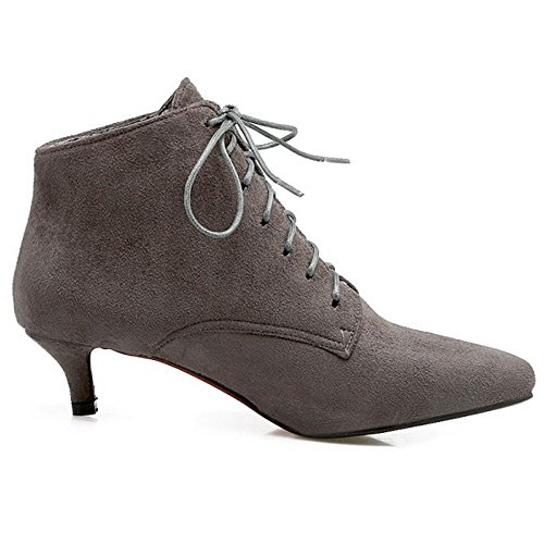Coolcept Women Casual Kitten Heel Lace Up Ankle Autumn Boots Grey 8ZJAgsC