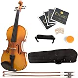 Mendini 4/4 MV400 Ebony Fitted Solid Wood Violin with Hard Case, Shoulder Rest, 2-Bows, Rosin, Extra Bridge and Strings (Full Size)