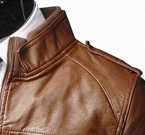 In Pu Giacca Con Jacket Uomo Pelle Cerniera Slim Artificiale Cappotti Marrone Fit Chiaro Cappotto axqXxdt