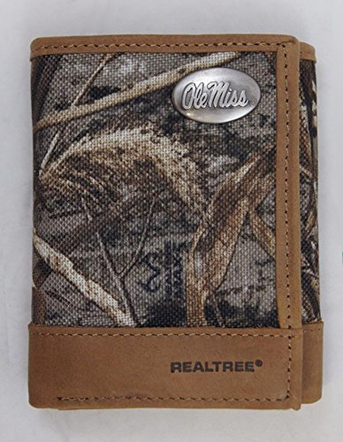 (NCAA Mississippi Ole Miss Rebels Realtree Nylon/Leather Trifold Concho Wallet)