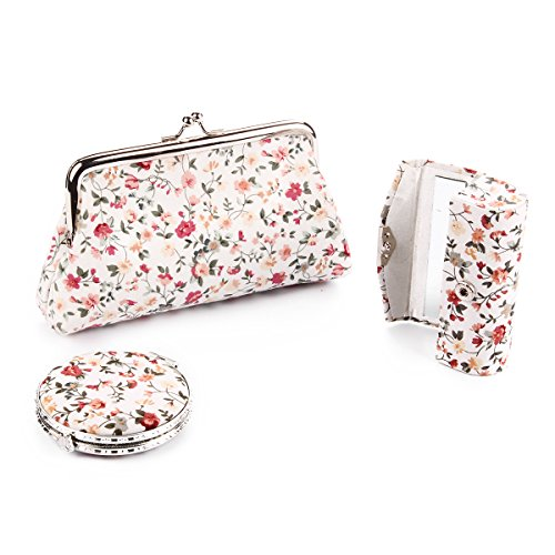 Ezeso 3 in 1 Floral Cosmetic Organizer Lipstick Mirror Butterfly Kiss-Lock Case Set,Womens Embroidery Coin Purse Holder Storage Gift Kit (White)