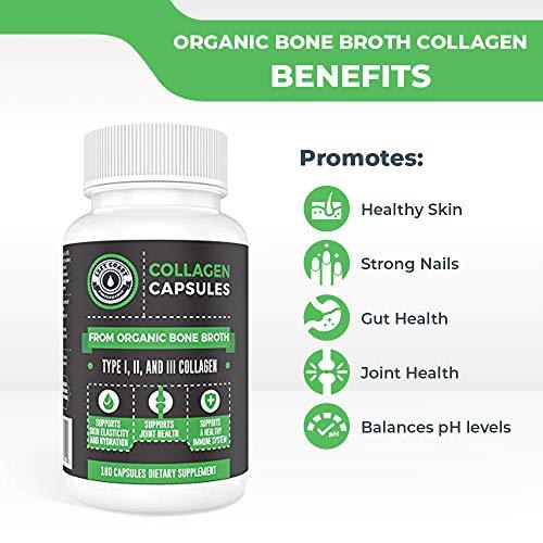 51GelSJ8I6L - Organic Collagen Pills Supplement - 180 Count Organic Collagen Caps - Organic, Grass Fed Bovine & Organic Chicken Bone Broth. Collagen 1 2 3 Capsules, Left Coast Performance