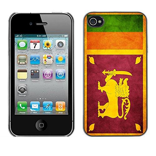 Omega Case PC Polycarbonate Cas Coque Drapeau - Apple iPhone 4 / 4S ( Sri Lanka Grunge Flag )