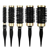 Professional Hairdressing Comb Set, Nylon Comb Salon Styling Tool kit Rubber Curly Roller Hair Brush Ionic Barrel Comb (5 sizes)(5 Pcs)