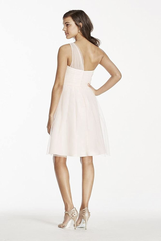 One Shoulder Tulle Short Bridesmaid Dress