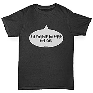 TWISTED ENVY Boys Funny Tshirts I'd Rather Be With My Cat Boy's T-Shirt Age 3-4 Black