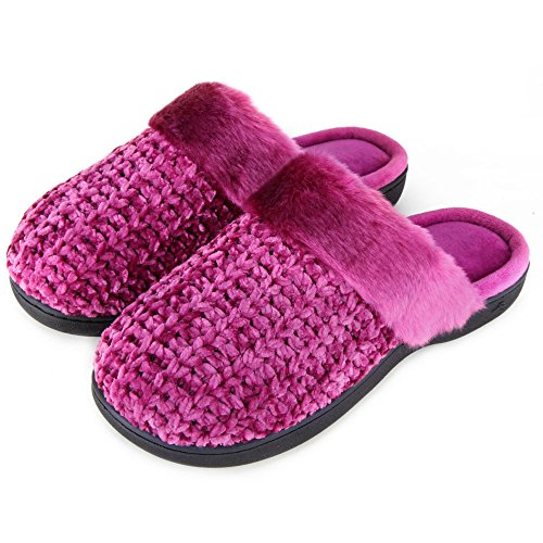 Cute Foam On Slip Fuzzy Women's Comfy Wine Knitted House Memory Flat Slippers Zigzagger Indoor YqH58wn