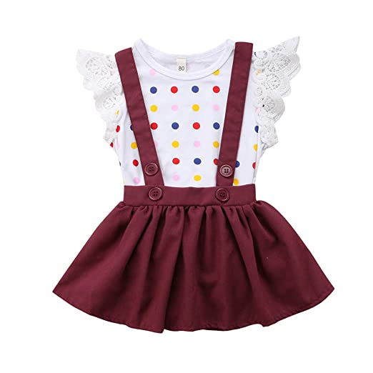 784ba1d927f Baby Girls Outfits 2pcs Baby Polka Dot Romper Clothes Set Girl  Jumpsuit+Strap Suspender Skirt