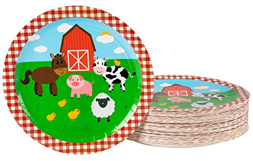 Disposable Plates - 80-Count Paper Plates, Farm Animals Party Supplies for Appetizer, Lunch, Dinner, and Dessert, Kids Birthdays, 9 x 9 inches (Animals Barnyard Dinnerware)