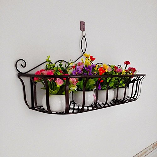 KSUNGB Flower Stand Wall Hanging Creative Railing Storage Living Room/ Bedroom/ kitchen/ Bathroom / Balcony / Hotel / Bar / Cafe Flower Pot Rack Bonsai Frame Shelf Hanging Iron , copper , 602029cm by KSUNGB