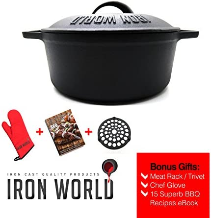 iron cast dutch oven 3.5 quart by iron world – pot with lid pre seasoned and nonstick. iron cookware great for cooking baking frying soup casserole camping. heavy duty rust proof bonus meat rack