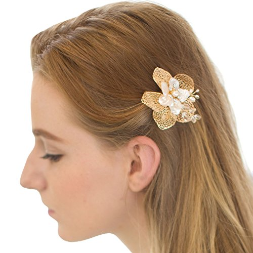 FAYBOX Gold Pearls Flower Leaves Hair Clips Bridal Headpiece Wedding Accessories