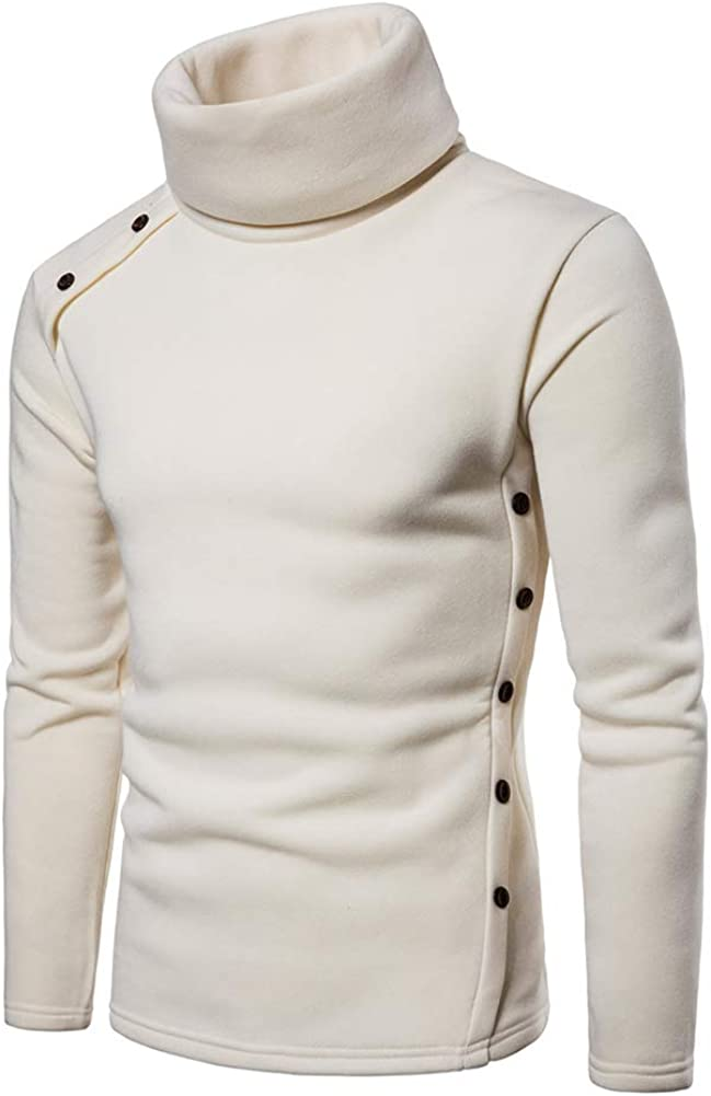 ZiXing Pullover Haut Homme Hiver Bouton sous Pull /à Col Roul/é Manches Longues Casual
