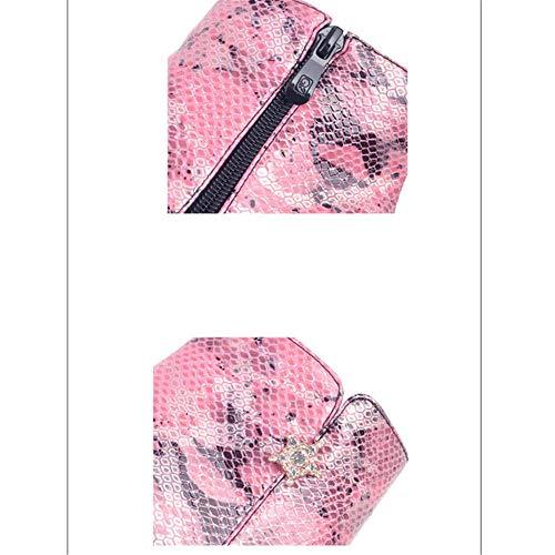 Shirloy Shirloy con Tacco Laterale Stivali Serpente con Selvatici Rosa con Sexy Punta Cerniera Stampa Donna Stivaletti a Stivaletti Stivali da SqwrS
