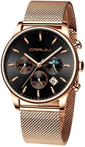 TIMEWHEEL Men s Watches Fashion Quartz Analog Auto Date Chronograph Mesh Stainless Steel Waterproof Wrist Watch Black Blue Gold