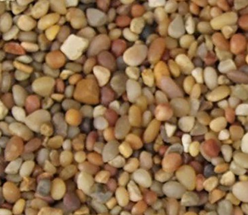 "Safe & Non-Toxic {Small Size, 0.12"" to 0.25"" Inch} 5 Pound Bag of ""Acrylic Coated"" Gravel & Pebbles Decor for Freshwater Aquarium w/ Natural Polished Earthy Toned Rustic Style [Tan] by mySimple Products"