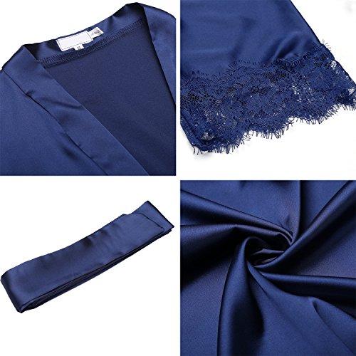 BeautyUU Camicia Scollo V in Pigiama XXL Notte 3 a e Navy Raso Vestaglia Notte Pizzo Manica Blu Nightdress a da Vestaglia da Donna S 4 Kimono rzqw6rf0p