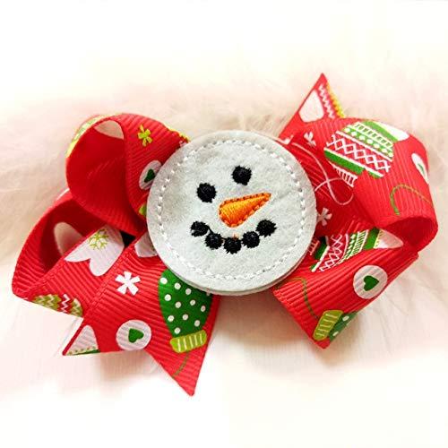 (Dalab 2pcs/lot 3 Inch Cute Christmas Hair Bows Grosgrain Ribbon Dots Printed Snowman Covered Hairpins Children Hair Clips Accessories - (Color: 09))