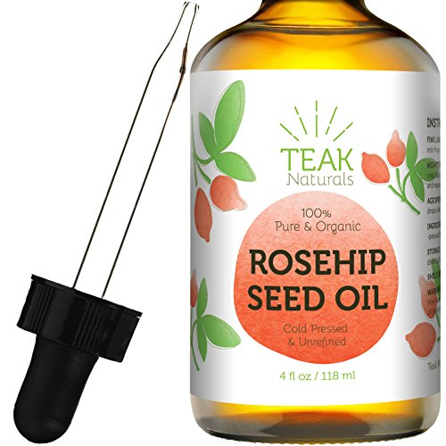 Rosehip Seed Oil by Teak Naturals - 100% Pure Organic Unrefined Cold Pressed Anti Aging Moisturizer for Hair Skin and Nails - 4 oz