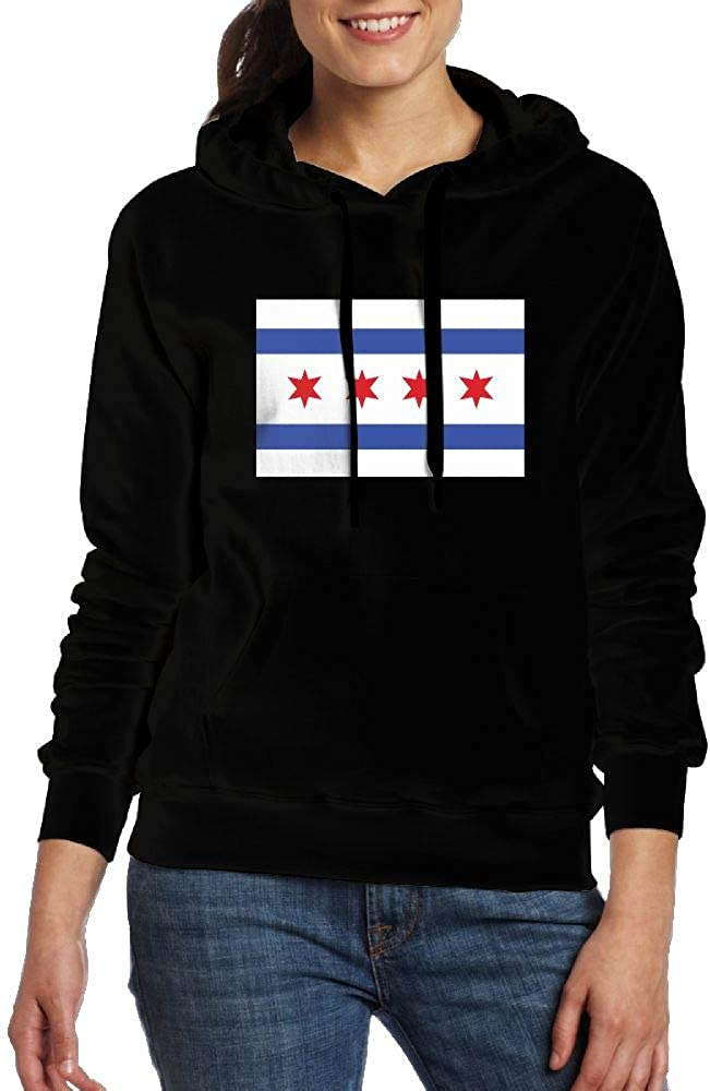 Ou40IL@WY Womens Chicago Flag Pullover Hoodie Casual Cotton Hoodie with Pocket for Women