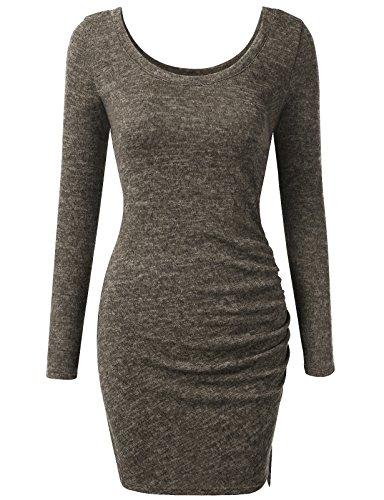 J.TOMSON Women's Slim Fit Triblend Long Sleeve Scoop Neck Side Ruched Dress OLIVE M