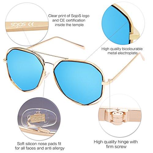 c56e516bf1fc8 SojoS Aviator Sunglasses Metal Frame Flat Mirrored Lens SJ1004 - Import It  All