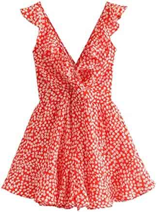 94adb3f878 SheIn Women's Boho Crochet V Neck Halter Backless Floral Lace Romper  Jumpsuit